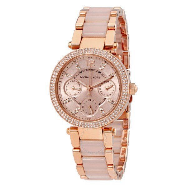 Đồng Hồ MICHAEL KORS Parker Mini Multi-Function Rose Dial Rose Gold-tone and Blush Acetate Ladies Watch