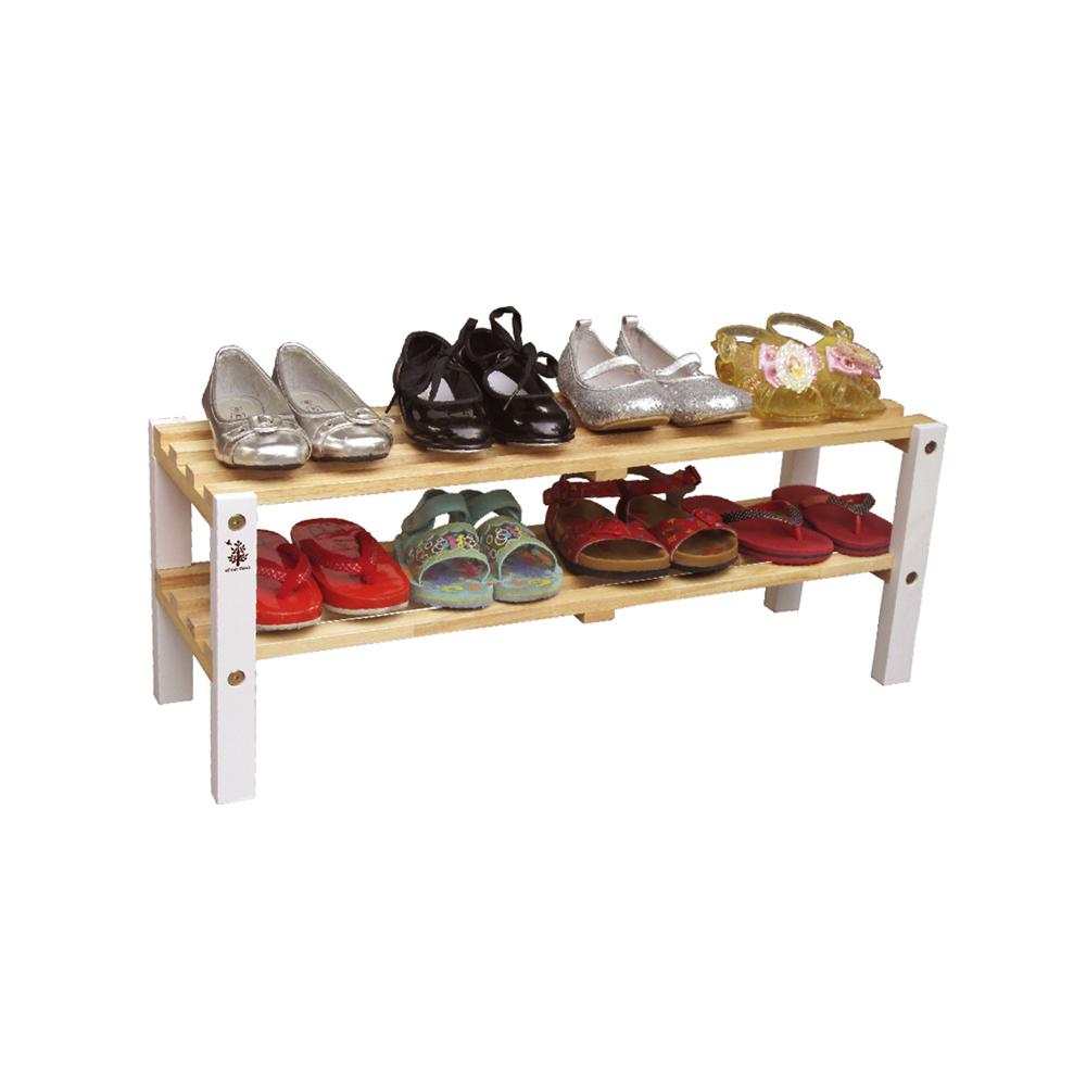 Kệ giày trẻ em 2 tầng, chân màu trắng   Gỗ Đức Thành - 48372K
