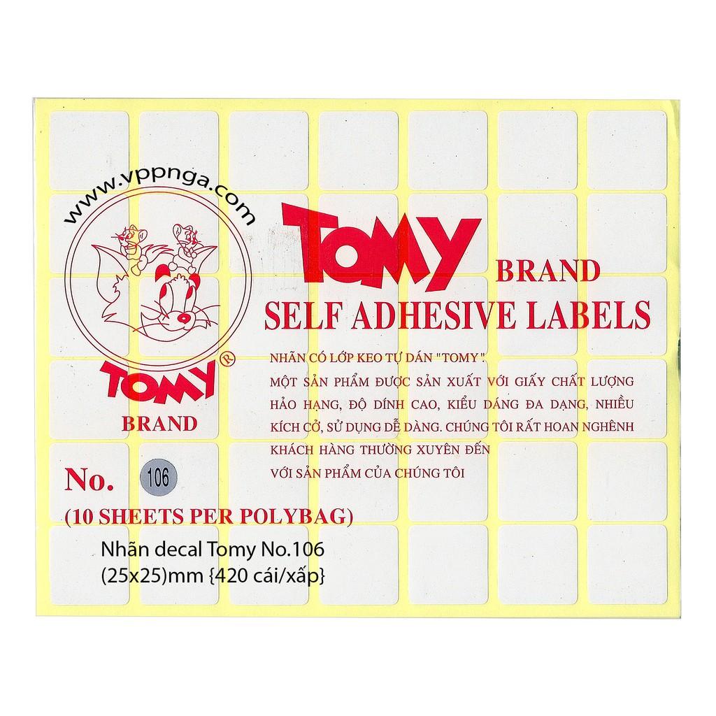 Giấy decan, dán nhãn Tomy A5 số 106 -size 25 x 25 (mm)