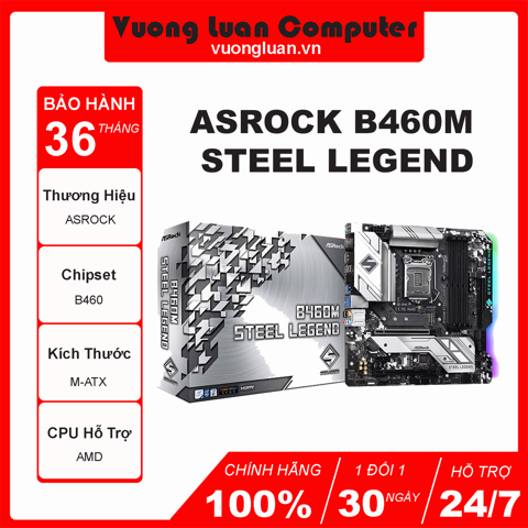 Mainboard ASROCK B460M STEEL LEGEND (Intel B460, Socket 1200, m-ATX, 4 khe Ram DDR4)