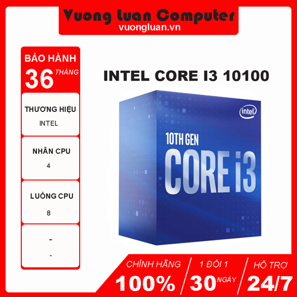 CPU Intel Core i3 10100 (3.6GHz turbo up to 4.3Ghz, 4 nhân 8 luồng, 6MB Cache, 65W) - Socket Intel LGA 1200