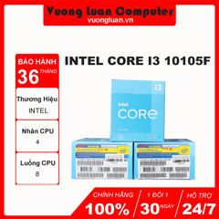 CPU Intel Core i3 10105F (3.7GHz turbo up to 4.4Ghz, 4 nhân 8 luồng, 6MB Cache, 65W) - Socket Intel LGA 1200