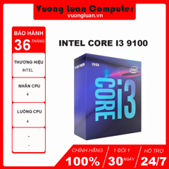 CPU Intel Core i3 9100 (3.6GHz turbo up to 4.2GHz, 4 nhân 4 luồng, 6MB Cache, 65W) - Socket Intel LGA 1151-v2