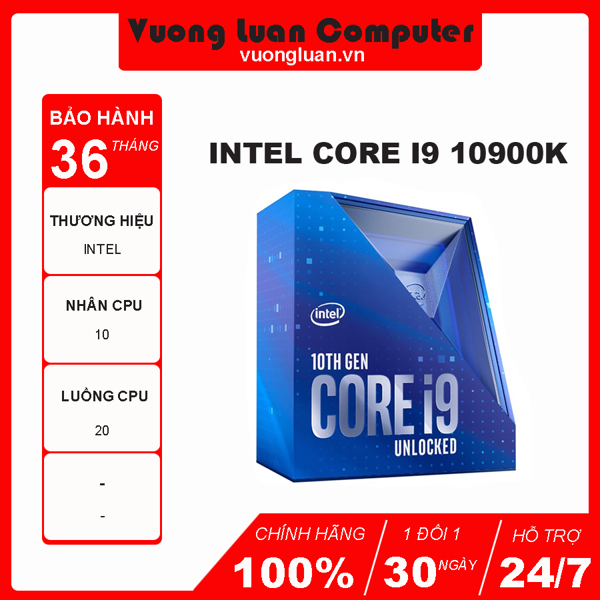 CPU Intel Core i9 10900K (3.7GHz turbo up to 5.3GHz, 10 nhân 20 luồng, 20MB Cache, 125W) - Socket Intel LGA 1200