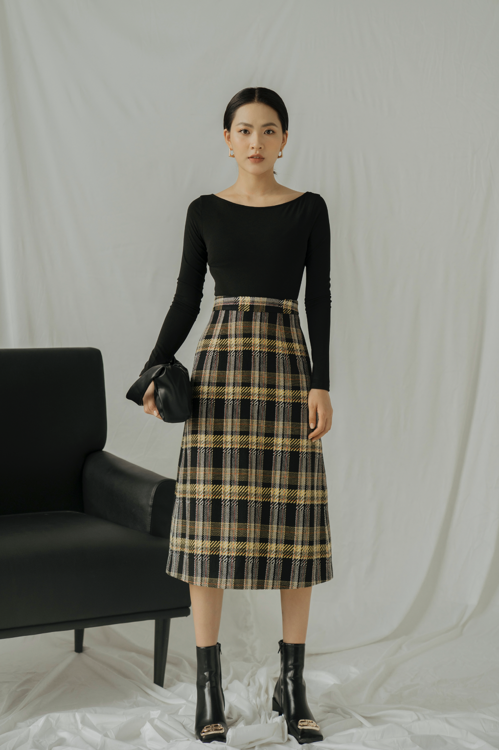 LEATHER MIDI SKIRTS-DPH19-014