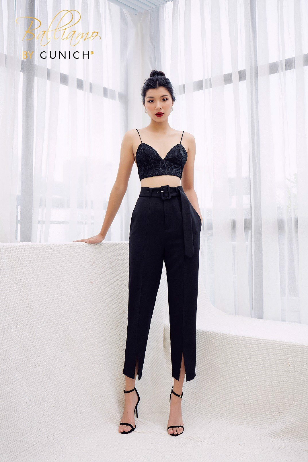 Evelyn Black Baggy Undercut Pant