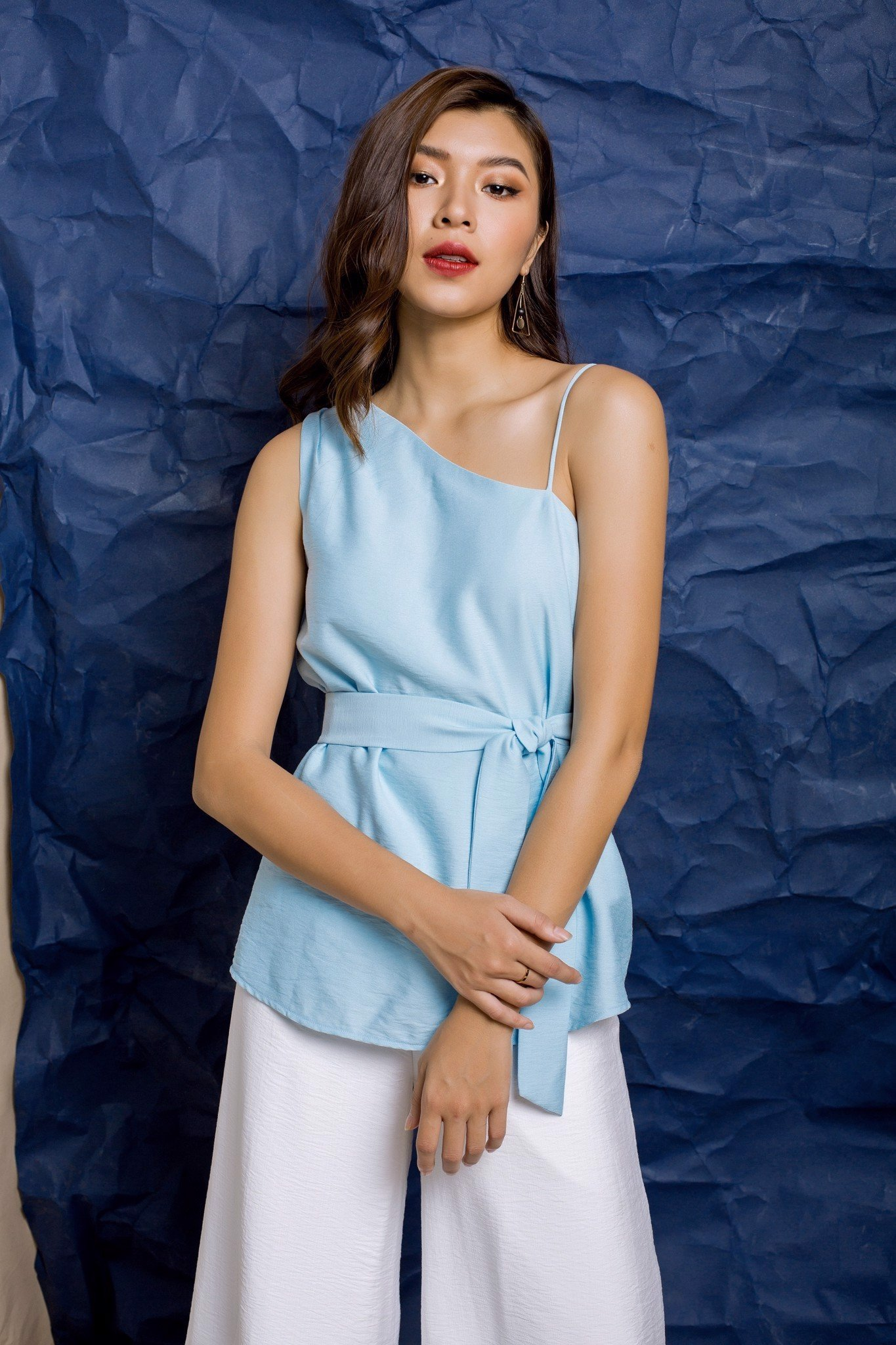 Trendy Blue Chambray One-Shoulder top