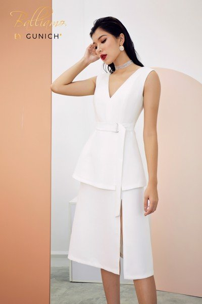 Amore Mio White Peplum Midi Dress