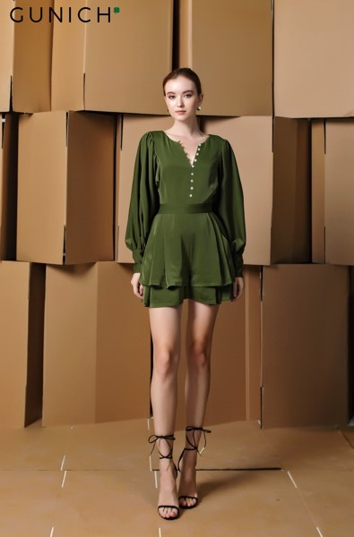 Laura Adler Olive Green Playsuit