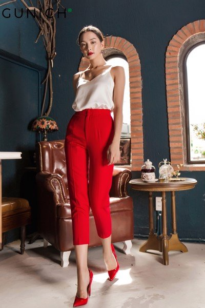 Olivia True Red Baggy Pants