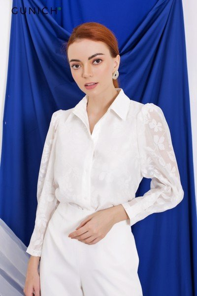 Blossom On White Blouse