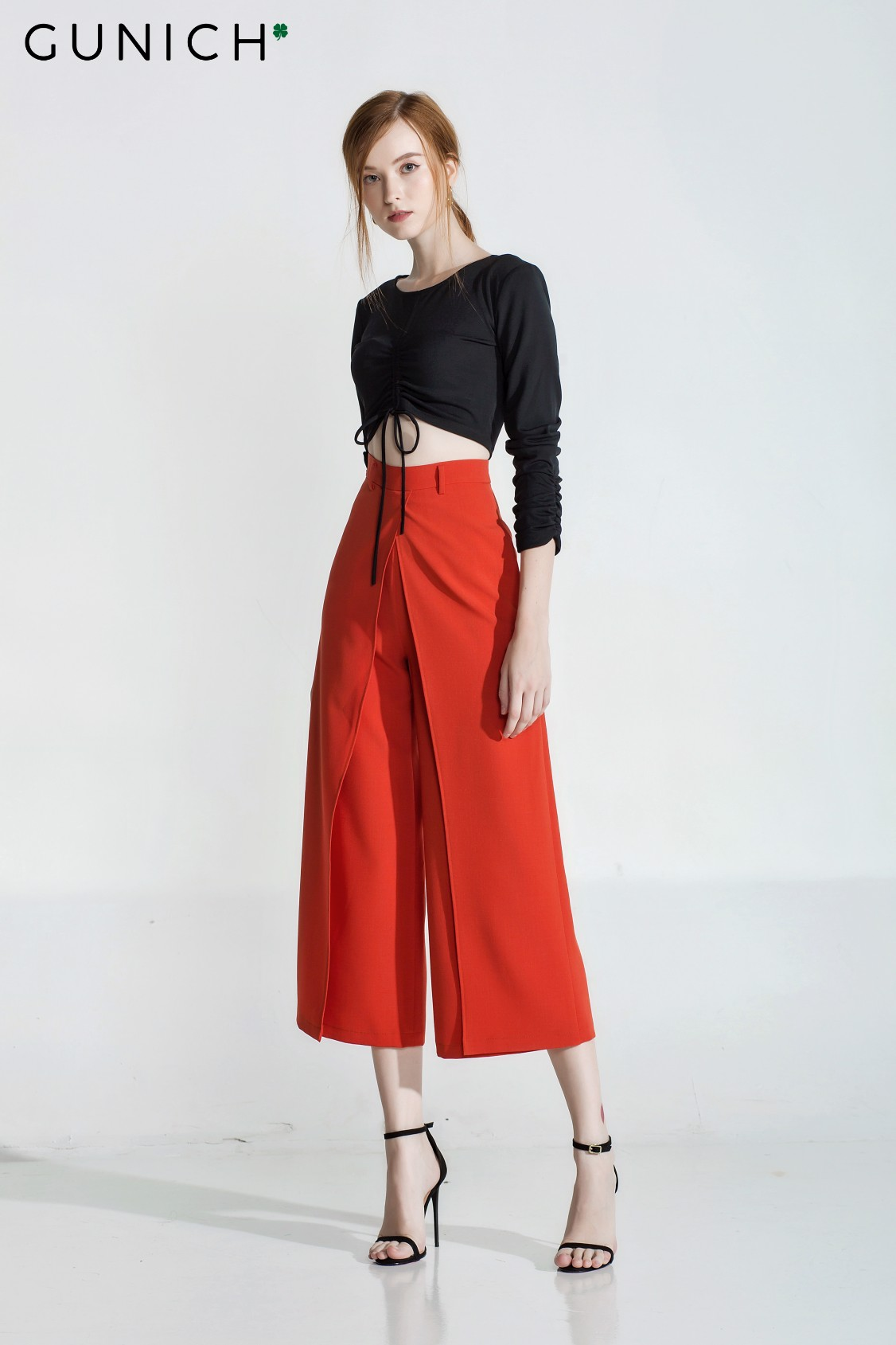 Kaleah Orange Culottes Pants