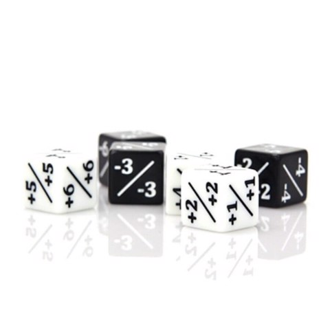 ACRYLIC POWER/TOUGHNESS COUNTER D6 - 6CT BLACK/WHITE