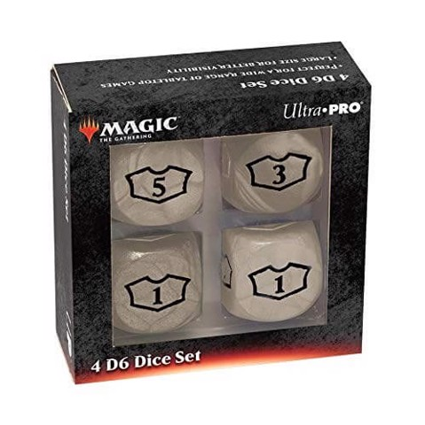 ULTRA PRO: MAGIC THE GATHERING DELUXE LOYALTY DICE - WHITE 4CT 22MM