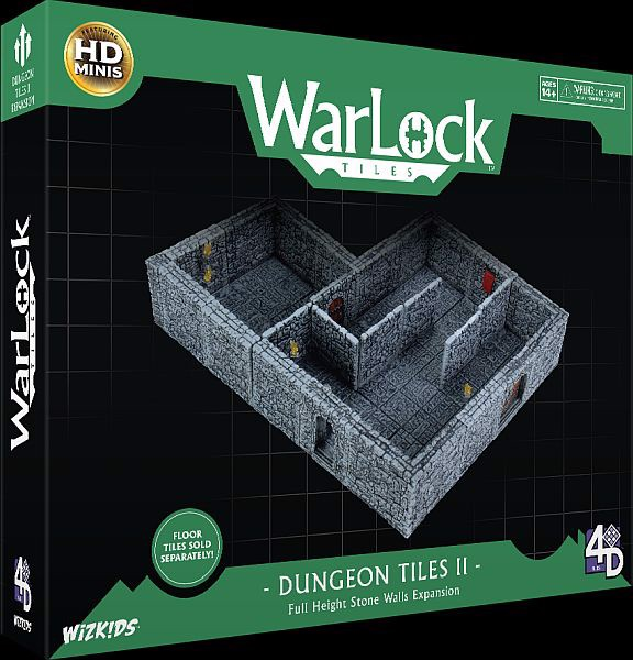 WARLOCK TILES : DUNGEON TILES 2: FULL HEIGHT STONE WALLS EXPANSION