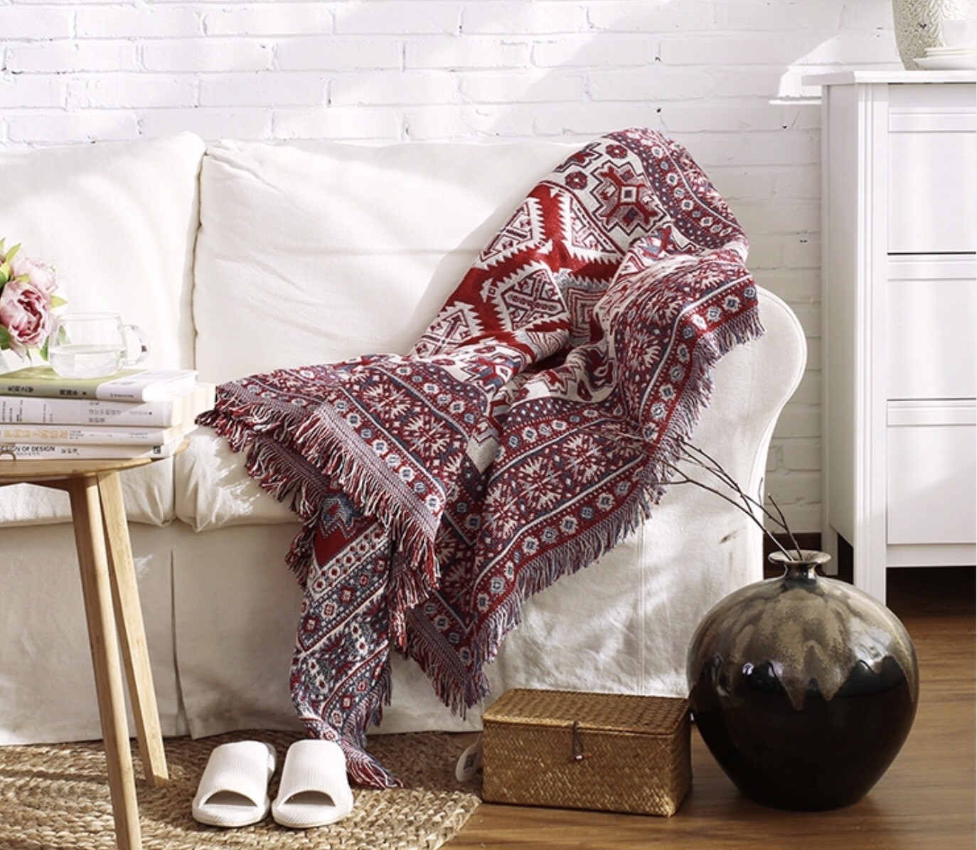 Red and white boho