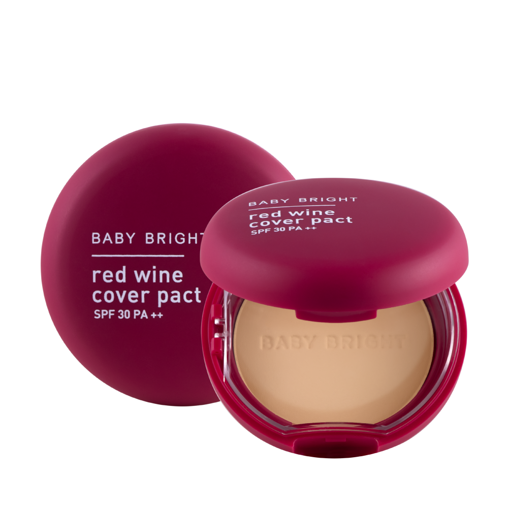 Phấn phủ rượu vang đỏ Baby Bright Red Wine Cover Pact SPF 30  PA++ 6.5g #23 Medium Beige