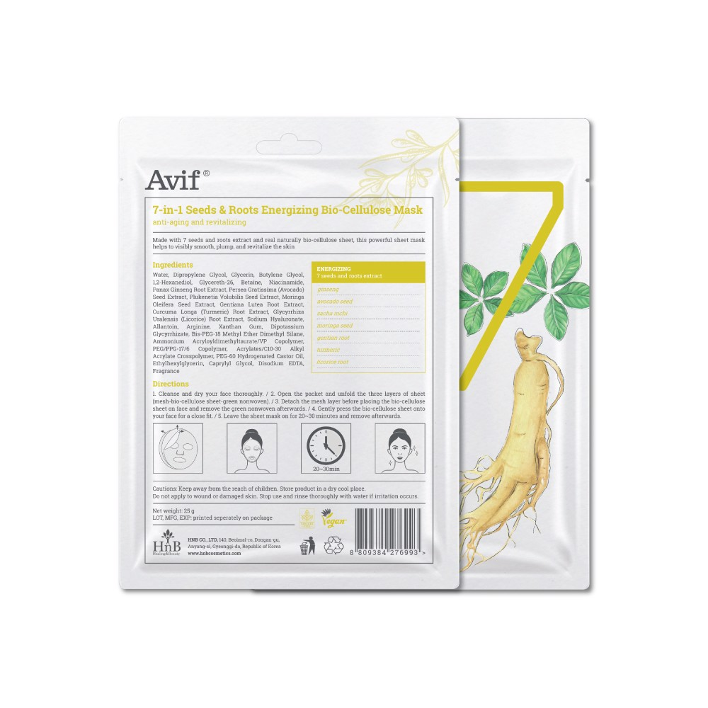 Mặt nạ dưỡng da AVIF 7-In-1 Seeds & Roots Energizing Bio-Cellulose Mask 25G
