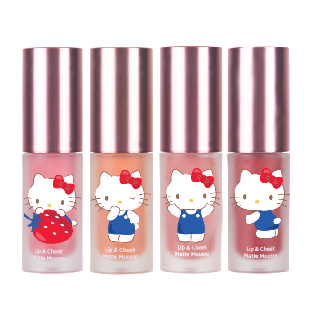 Son kem lì và má hồng Hello Kitty Cathy Doll Lip & Cheek Matte Mousse 4g #03 Walnut