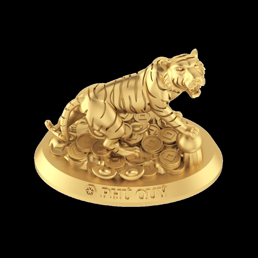 Tượng con giáp Phú Quý - Hổ vàng 24K (999.9)