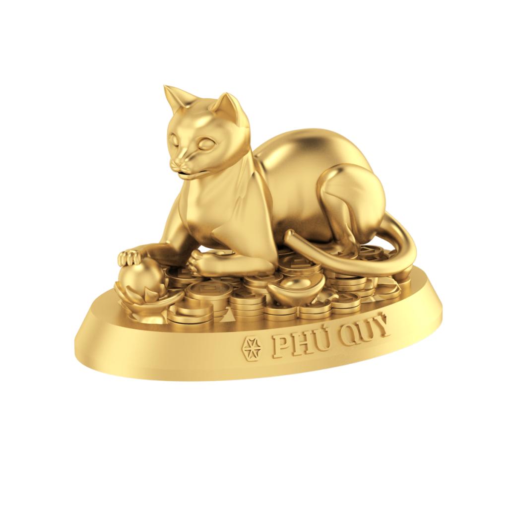 Tượng con giáp Phú Quý - Mèo vàng 24K (999.9)