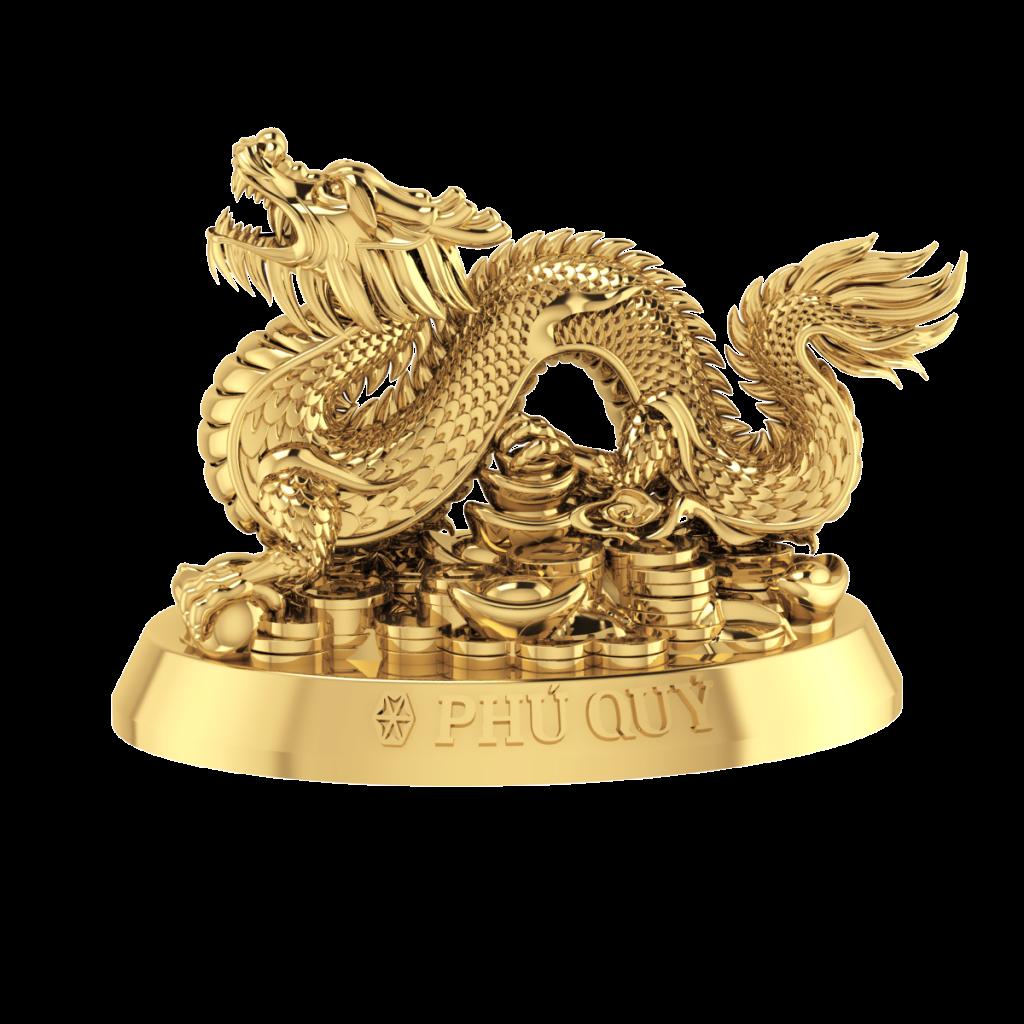 Tượng con giáp Phú Quý - Rồng vàng 24K (999.9)