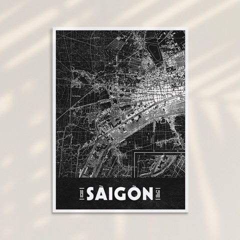 Tranh Saigon Map 05 - Tranh Khung Kính
