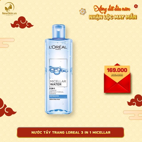 Nước Tẩy Trang L'Oreal Micellar Water 3-in-1 Refreshing Even For Sensitive Skin