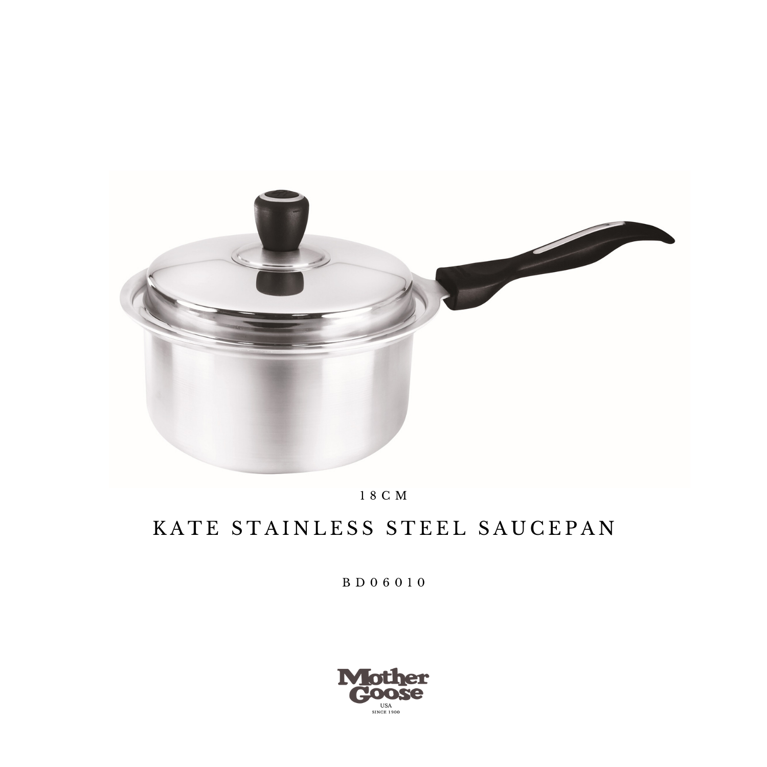 KATE STAINLESS STEEL SAUCEPAN 18CM
