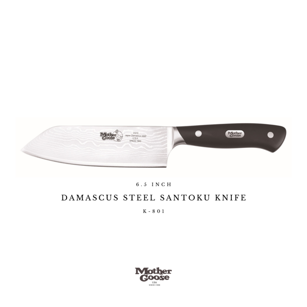 DAMASCUS STEEL SANTOKU KNIFE 6.5 INCH