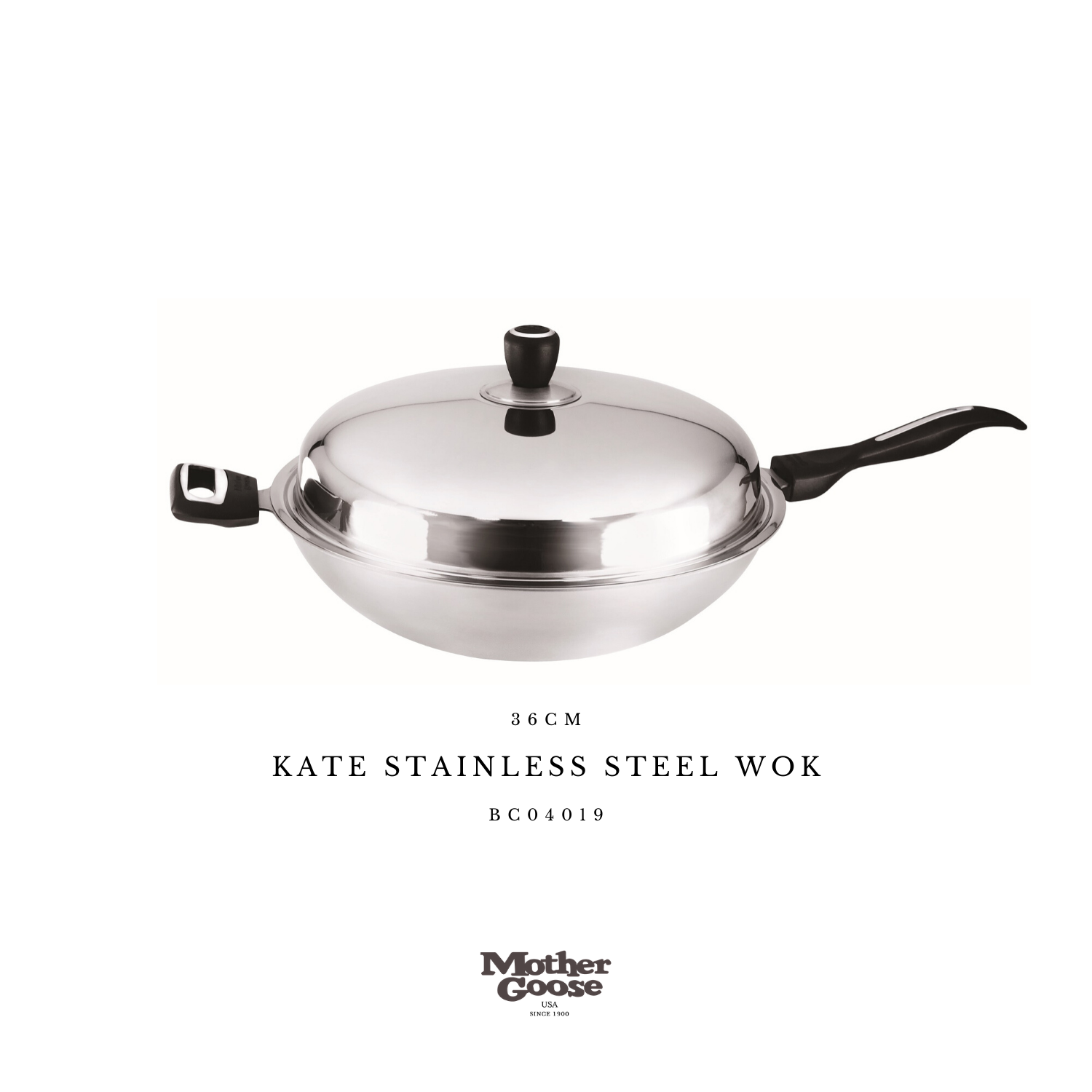 KATE STAINLESS STEEL WOK 36CM