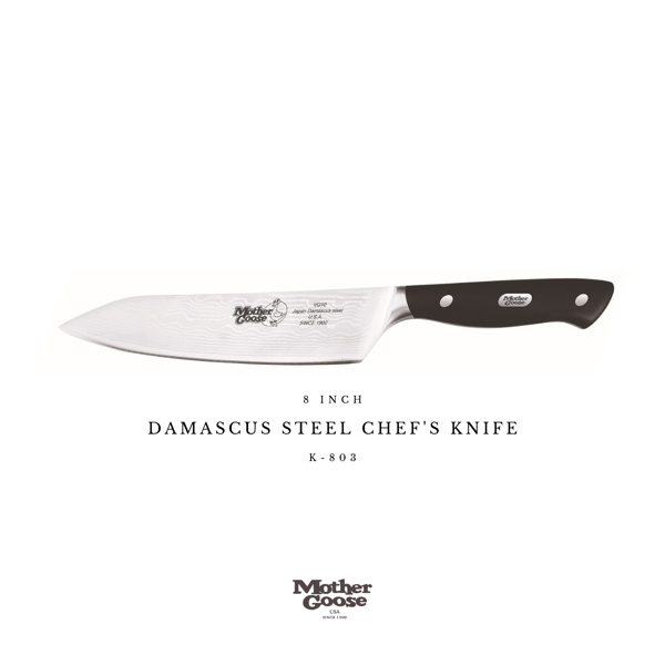 DAMASCUS STEEL CHEF'S KNIFE 8 INCH