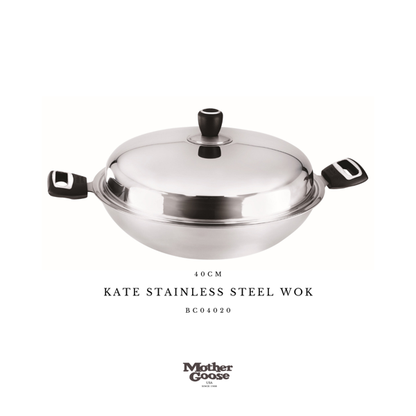 KATE STAINLESS STEEL WOK 40CM
