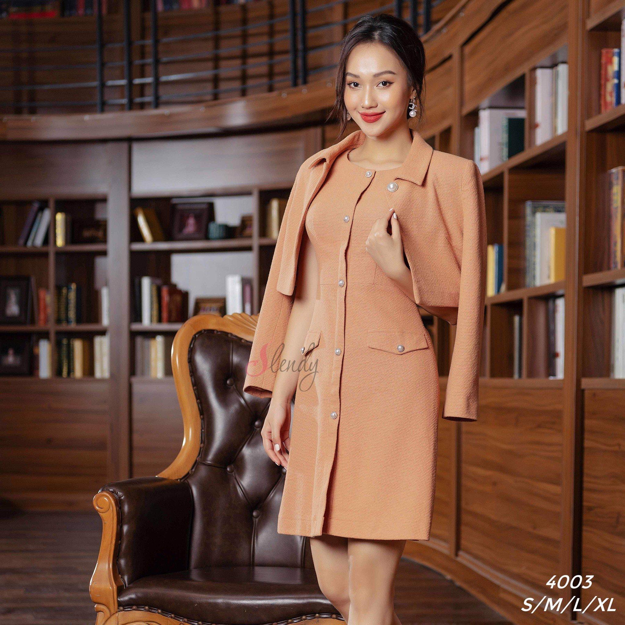 4003 Bộ váy dạ Tweed