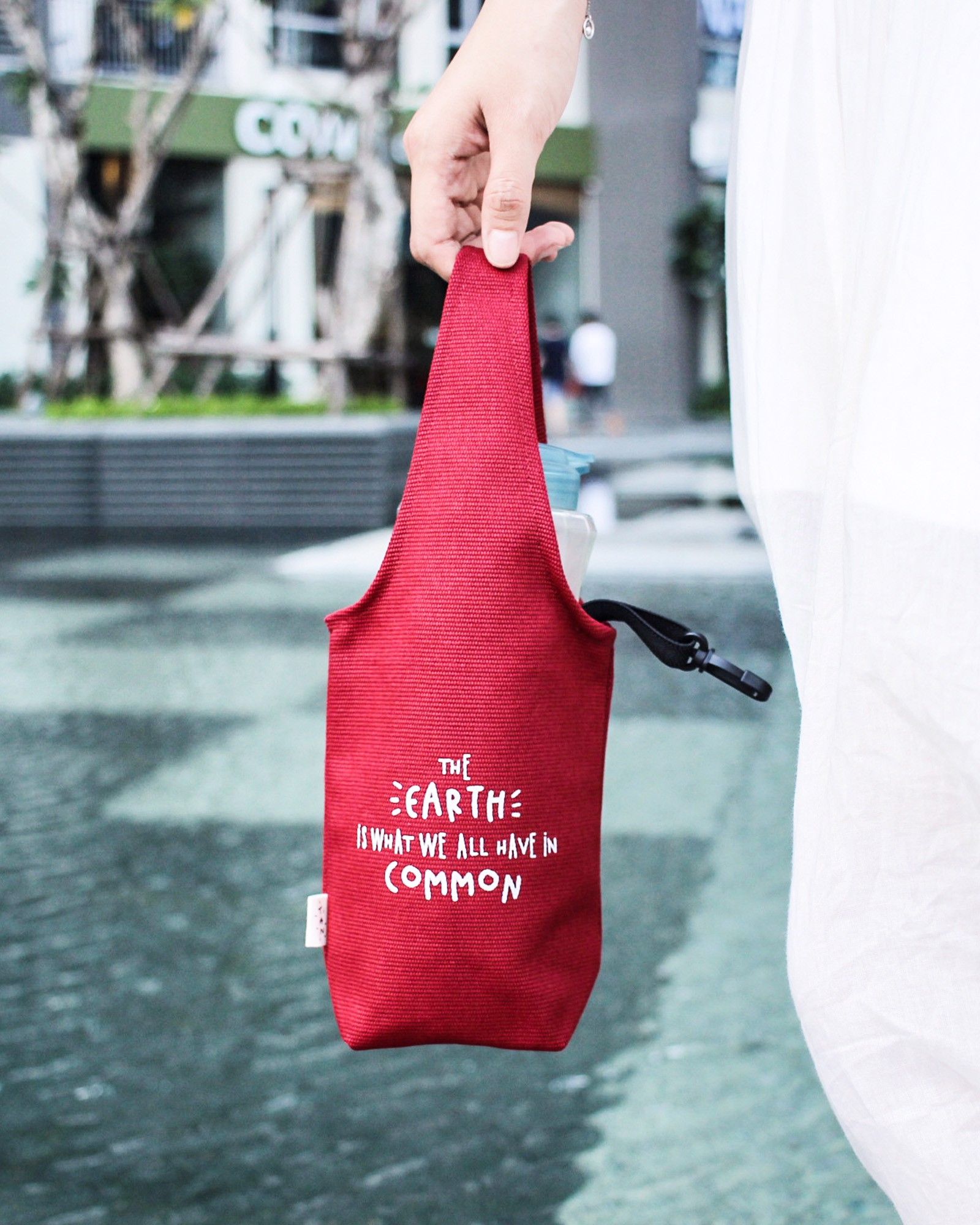 Red Canvas One-strap Cup Holder - The Earth Is What We Have In Common