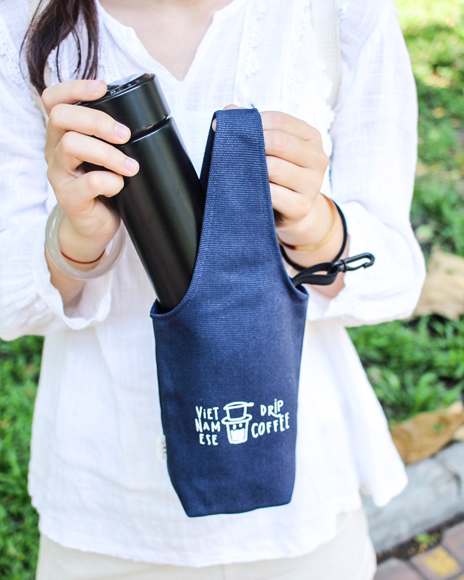 Blue - Drip Coffee Canvas One-strap Cup Holder