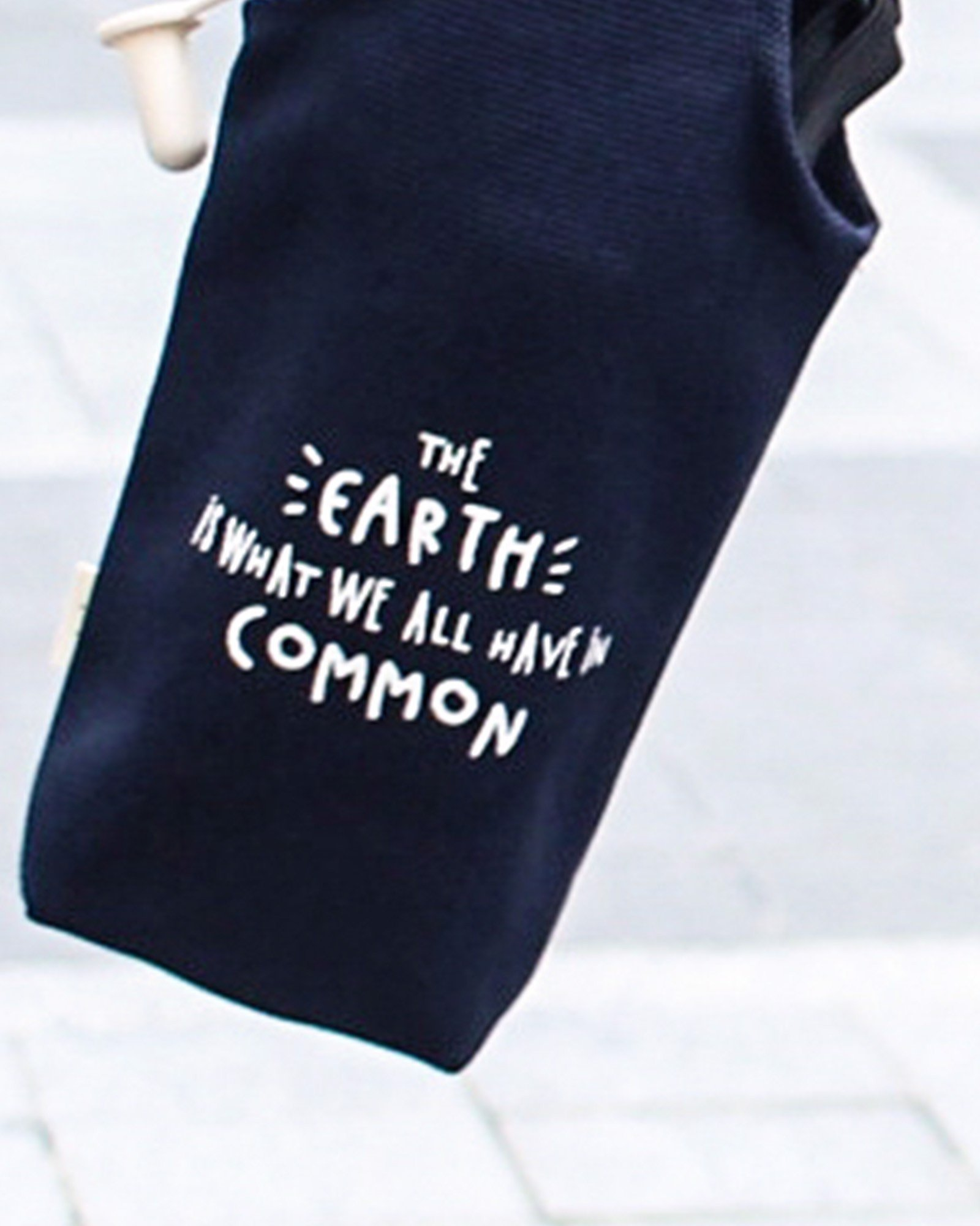 Blue - The Earth Is What We All Have In Common Canvas One-strap Cup Holder