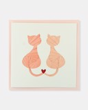 Folded card Pink love cats
