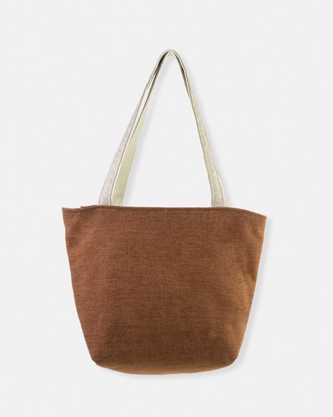 Brown Zippered Canvas Bag