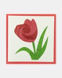 Folded card Red Tulip flower