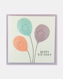 Folded card Happy Birthday (Pink, Blue, Purple balloons)