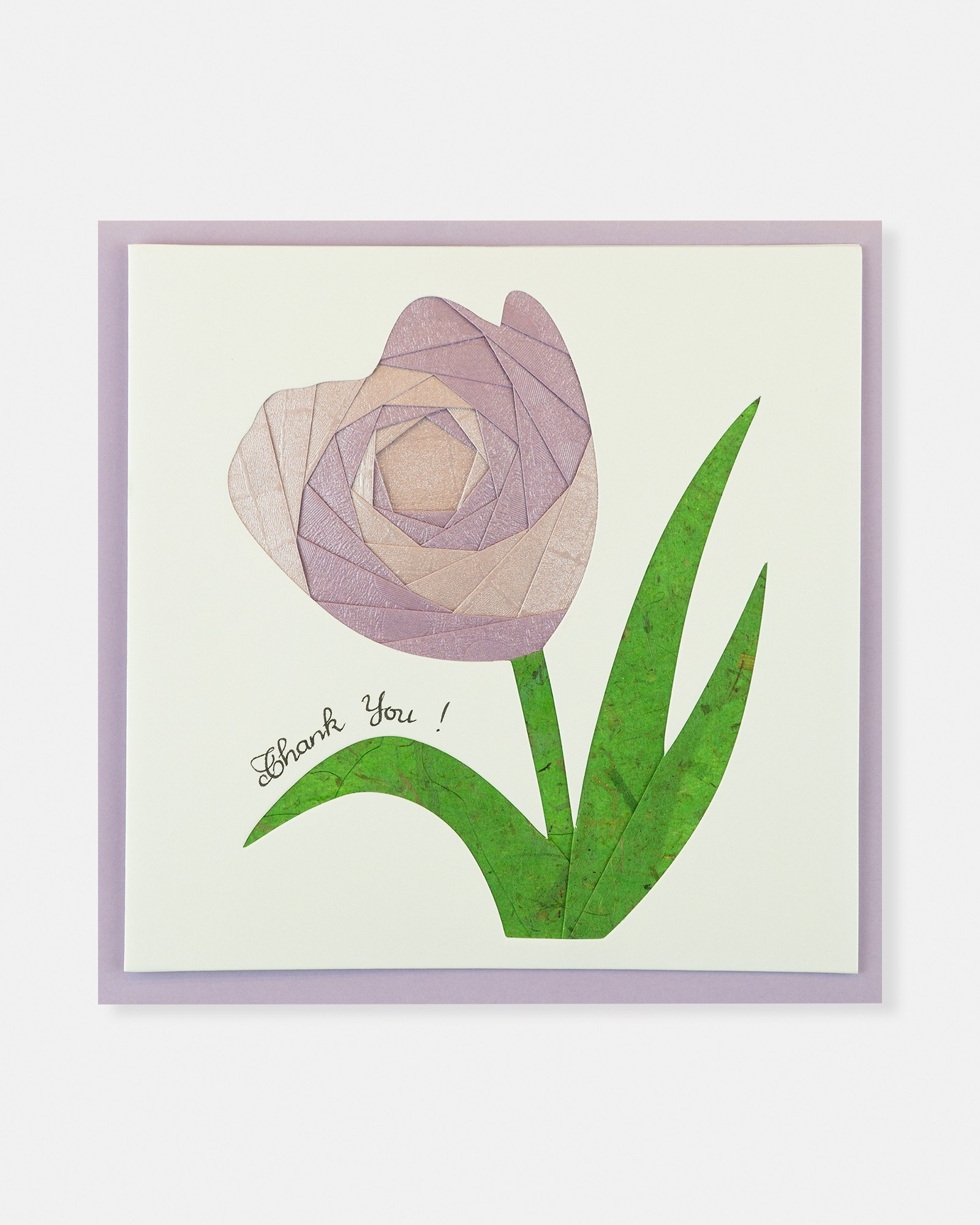 Folded card Thank You (Purple Tulip flower)