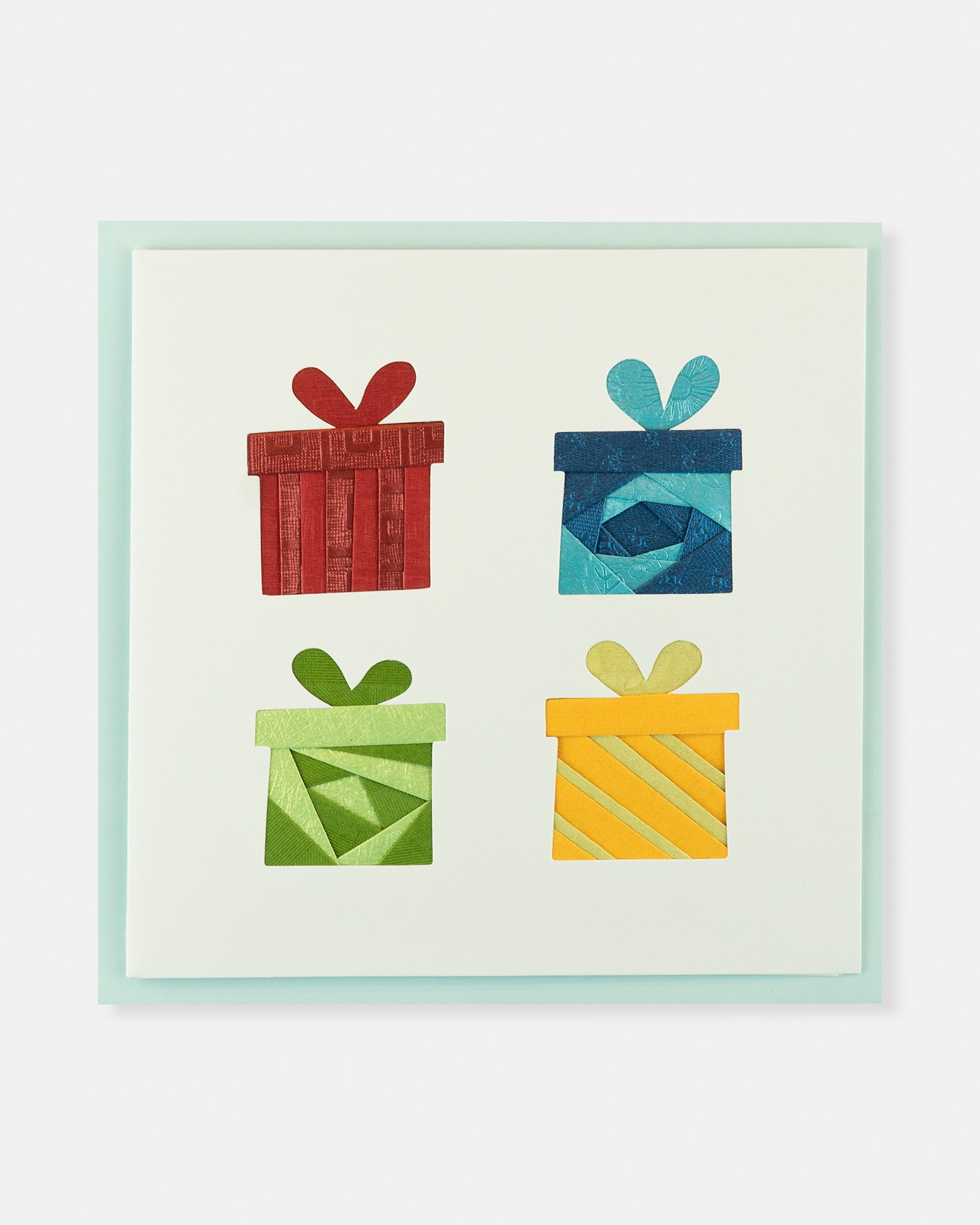 Folded card Four Giftboxs (Red, Blue, Green&Yellow)