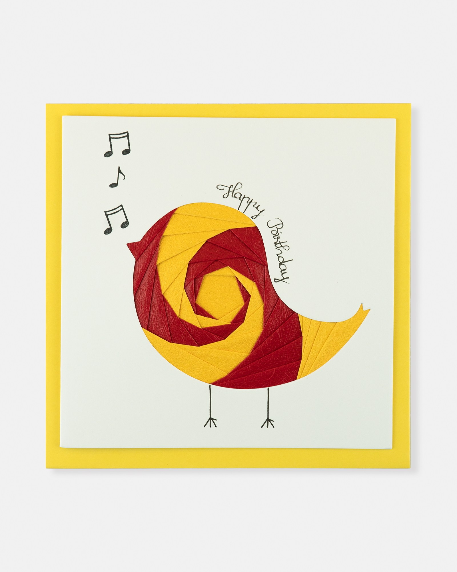 Folded card Happy Birthday (Red & yellow music bird)