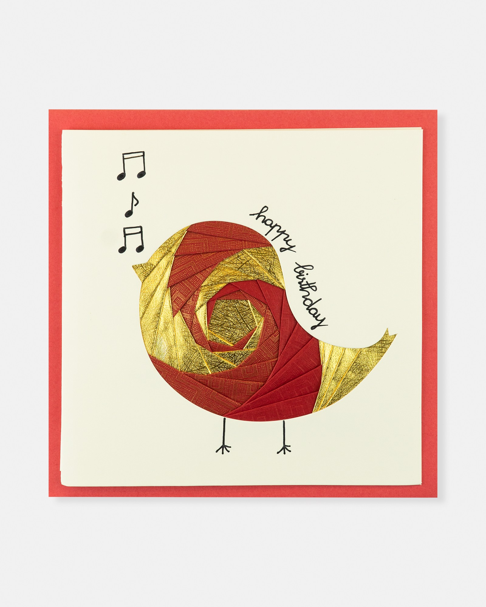 Folded card Happy Birthday (Red & light yellow music bird)