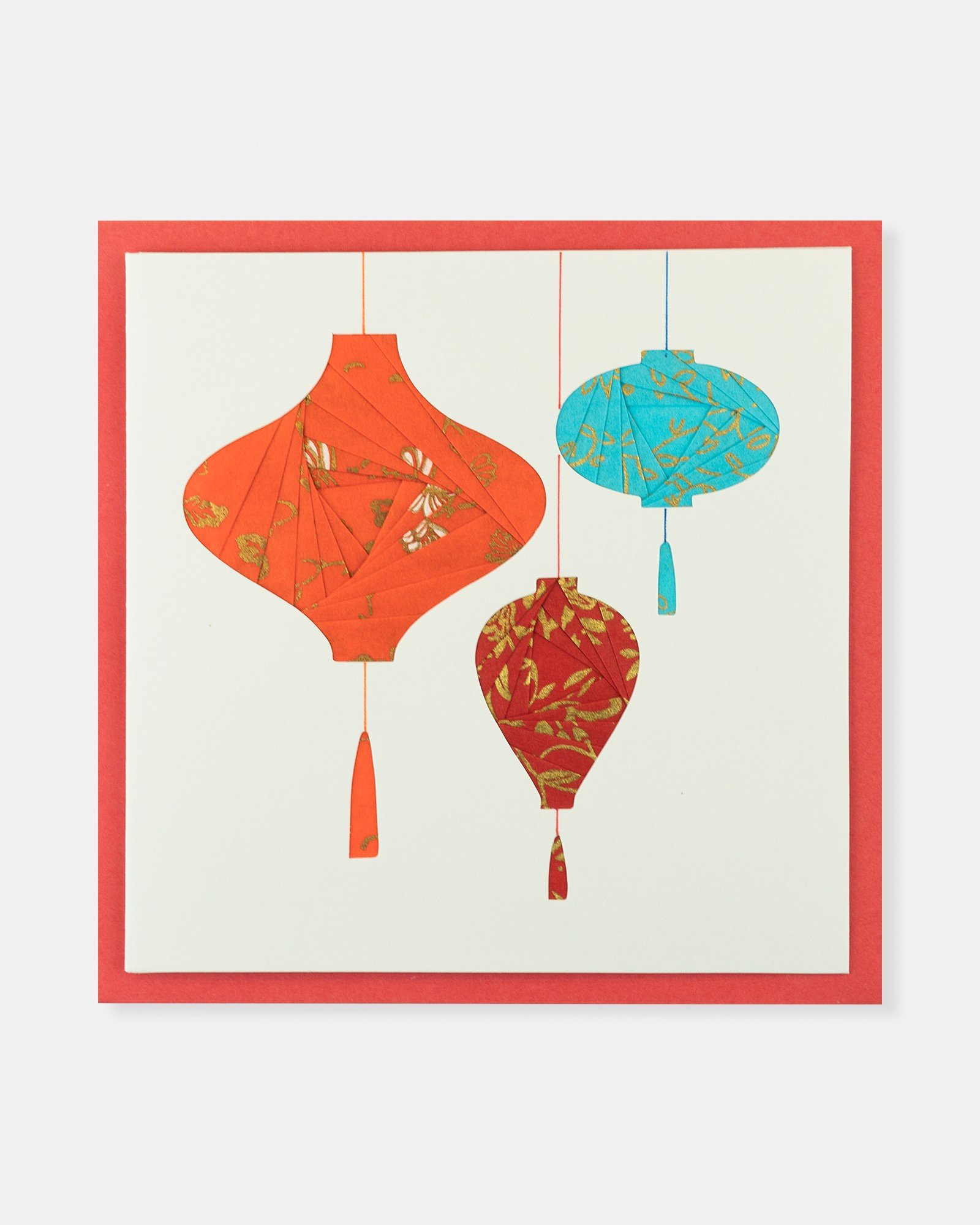 Folded card Three lanterns (Orange, Red&Blue)