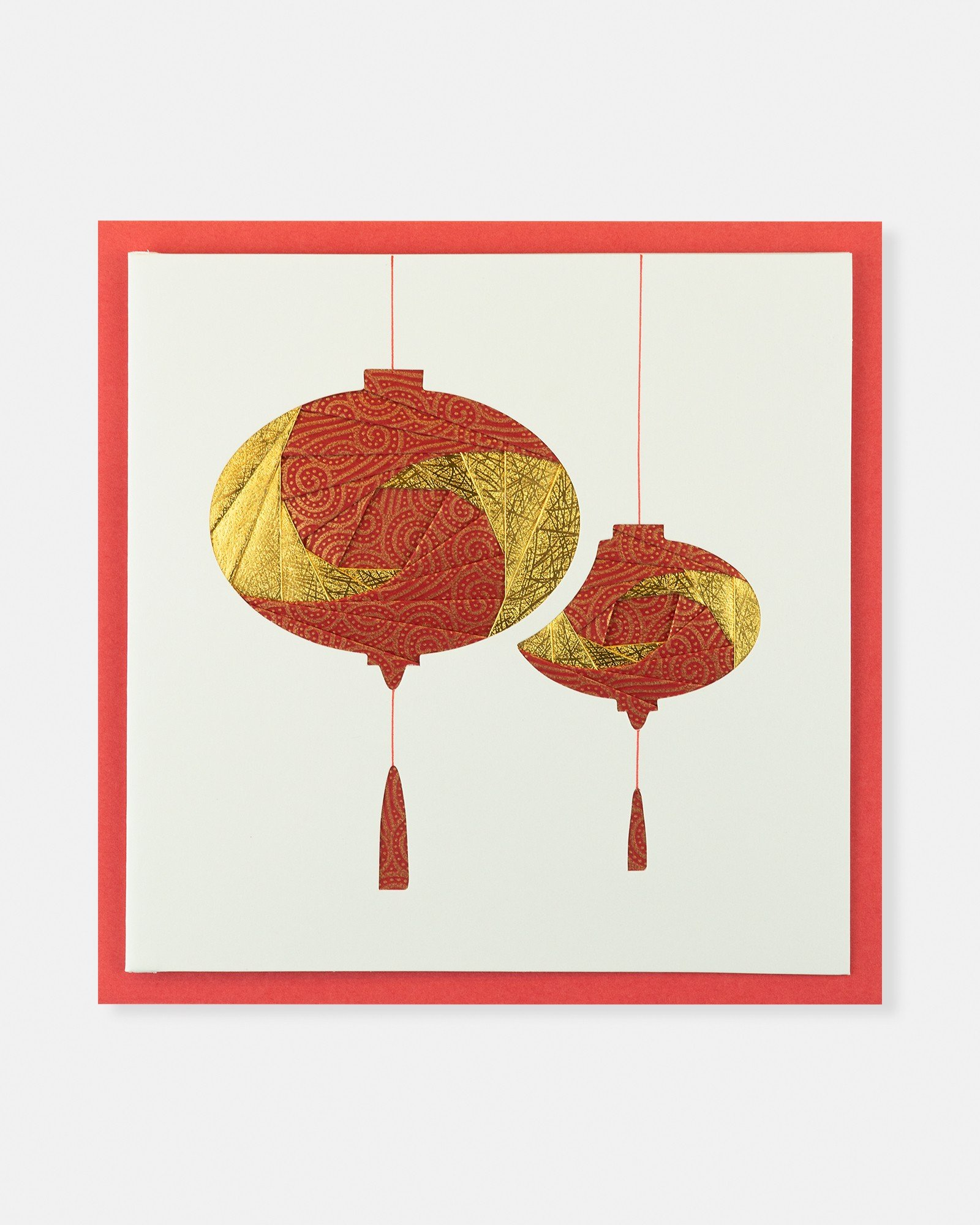 Folded card Two lanterns (Red&Light yellow)