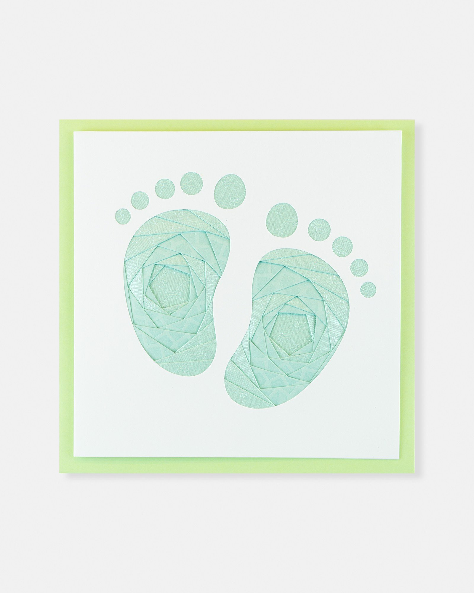 Folded card Green Baby Feet