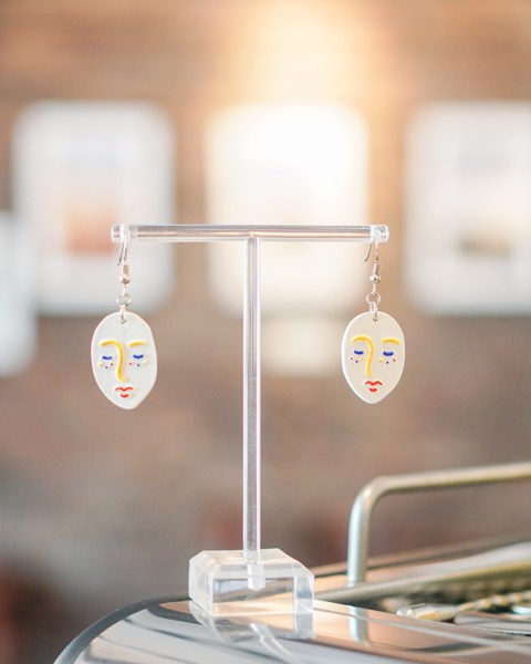White & Colorful Line Dream Clay Earrings