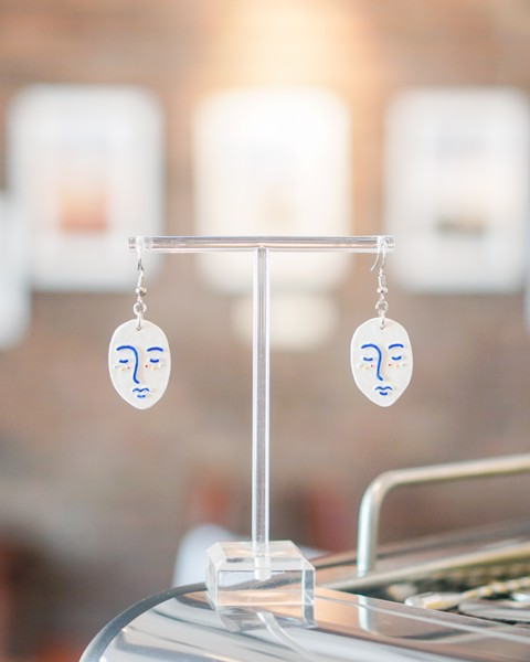 White And Blue Line Dream Clay Earrings